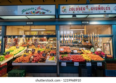 Budapest, Hungary - December 2017: Store in the Central Market of Budapest