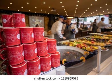 Budapest, Hungary - December 2017: Street food vendors serving in Budapest Christmas Market