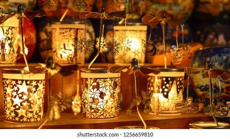 BUDAPEST, HUNGARY - DECEMBER 21, 2017: New Year's and  Christmas lantern. Beautiful light.