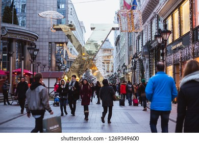 BUDAPEST, HUNGARY - December 28, 2018: The 'Fashion street' with Christmas decorations in Budapest, Hungary.