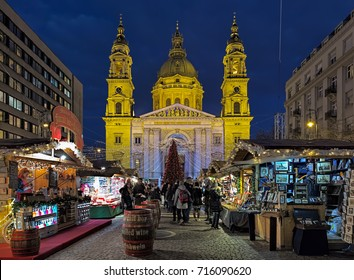 BUDAPEST, HUNGARY - DECEMBER 5, 2016: Christmas Market and Advent Feast at St. Stephen's Square in front of the St. Stephen's Basilica. The first Advent Fair by the Basilica was held in 2011.