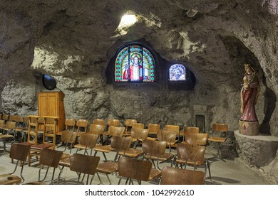 BUDAPEST, HUNGARY - DECEMBER 6, 2016: One of the chapels of the Cave Church in the Gellert Hill Cave (or Saint Ivan's Cave). The church is the part of the rock monastery belonged to the Pauline order.