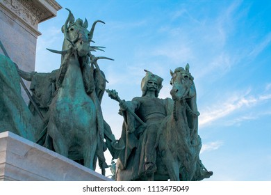 Budapest, Hungary, Europe. June, 22, 2016. Sculpture of Millennium Monument in Heroes Square in Budapest, Hungary. This square has been UNESCO World Heritage site since 2002.