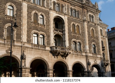 Budapest, Hungary, Europe. June, 22, 2017. A old and beautiful facade in Budapest.
