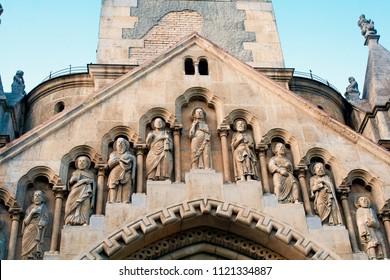 Budapest, Hungary, Europe. June, 22, 2017. Jaki Chapel, Vajdahunyad Castle, Budapest, details of the sculptures. Facade.