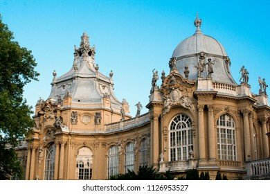 Budapest, Hungary, Europe. June, 22, 2017. Vajdahunyad Castle, detail of the facade.