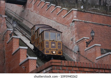 Budapest, Hungary: feb 1, 2018 -Vintage funicular to Buda castle in Budapest on two sides. Vintage ride.