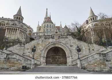 BUDAPEST, HUNGARY - FEBRUARY 02: Stairs at the entrance to the Fisherman's Bastion complex, in the Old Town district. February 02, 2016 in Budapest.