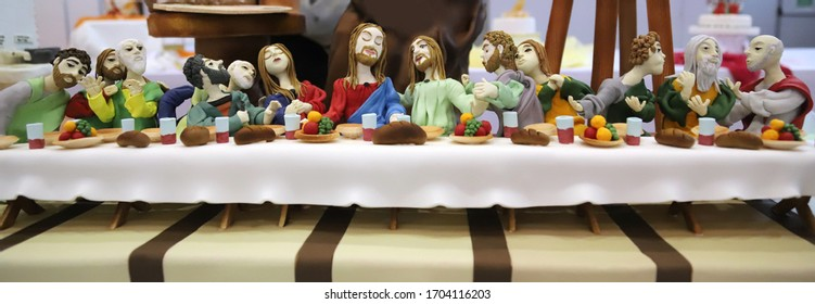BUDAPEST, HUNGARY - FEBRUARY 06: Marzipan sweets of Last supper of Jesus by unknown pastry cook as copy of Leonardo da Vinci work on February 06. 2020 in Budapest Sirha exhibitions