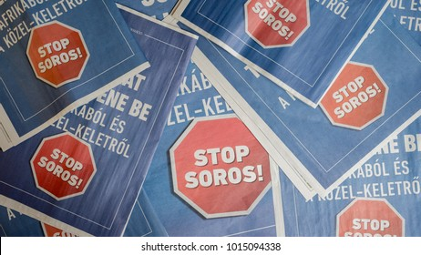 BUDAPEST, HUNGARY, FEBRUARY 1, 2018 - Full page advertisement in a Hungarian newspaper from the government, called STOP SOROS, a new campaign from the government right before the election.