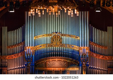 BUDAPEST, HUNGARY - FEBRUARY 10, 2018: The organ of The Liszt Zenekademia (Academy of Music). It is a concert hall and music conservatory in Budapest, Hungary, founded on November 14, 1875.