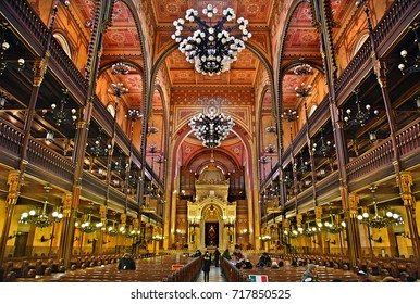 "BUDAPEST, HUNGARY - February  13, 2017. The Great Synagogue (""Dohany Street Synagogue""), the largest in Europe and second largest in the world."