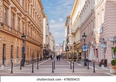 BUDAPEST, HUNGARY - FEBRUARY 20, 2016: Street in Budapest, Hungary.