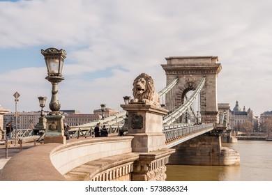 BUDAPEST, HUNGARY - FEBRUARY 20, 2016: The Szechenyi Chain Bridge on the River Danube in Budapest, Hungary.