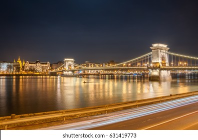 BUDAPEST, HUNGARY - FEBRUARY 20, 2016: Night view of the Szechenyi Chain Bridge in Budapest, the capital of Hungary.