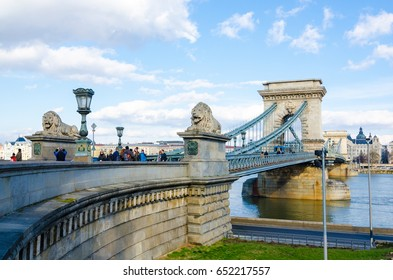 BUDAPEST, HUNGARY - FEBRUARY 20, 2016: Chain Bridge is the quintessential symbol to Budapest, one of the most beautiful European city. Budapest, Hungary