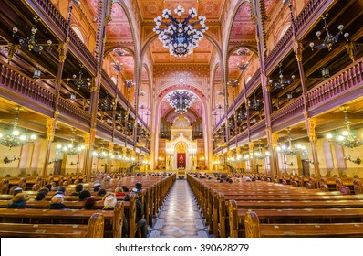 BUDAPEST, HUNGARY - FEBRUARY 21, 2016: Interior of the Great Synagogue (Tabakgasse Synagogue) in Budapest, Hungary. It is the largest synagogue in Europe and one of the largest in the world.