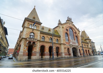 BUDAPEST, HUNGARY - FEBRUARY 21, 2016: Facade of the Great Market Hall in Budapest, Hungary. It's the largest indoor market in Budapest. It was designed by Samu Pecz. Built in neogothic style.