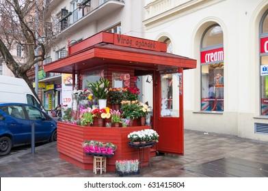 BUDAPEST, HUNGARY - FEBRUARY 21, 2016: Flower stall in the street in Budapest, Hungary