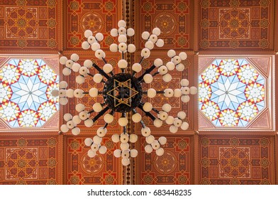 BUDAPEST, HUNGARY - FEBRUARY 21, 2016: Ceiling in The Great Synagogue is a historical building in Budapest, Hungary. It is the largest synagogue in Europe.