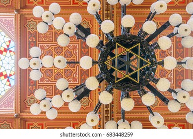 BUDAPEST, HUNGARY - FEBRUARY 21, 2016: Ceiling in The Great Synagogue or Tabakgasse Synagogue is a historical building in Budapest, Hungary. It is the largest synagogue in Europe.