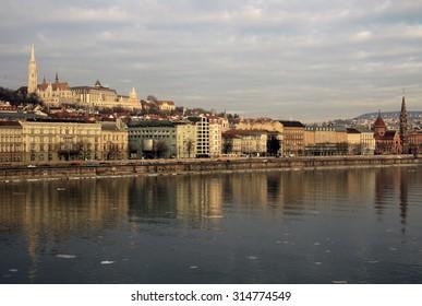 BUDAPEST, HUNGARY - FEBRUARY 22, 2012: Views of the Buda side of Budapest sunny day