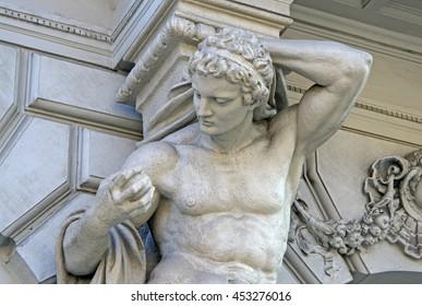 BUDAPEST, HUNGARY - FEBRUARY 22, 2012: Statue of Atlas on Andrassy street