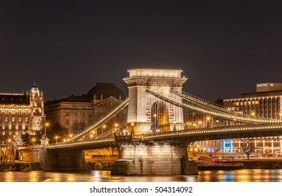 BUDAPEST, HUNGARY - FEBRUARY 22, 2016: Night view of the Szechenyi Chain Bridge is a suspension bridge that spans the River Danube in Budapest, the capital of Hungary.
