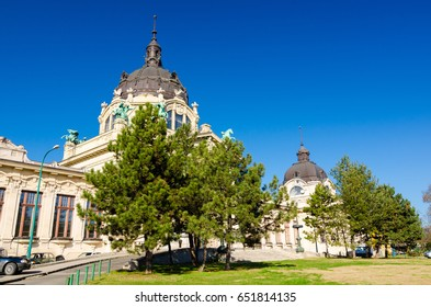 BUDAPEST, HUNGARY - FEBRUARY 22, 2016: The famous Szechenyi thermal Baths, spa and swimming pool in the Varosliget - main city park of Budapest, Hungary