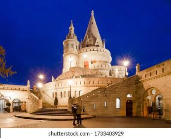 BUDAPEST, HUNGARY - FEBRUARY 23, 2016: Fishermans Bastion at night. Budapest, Hungary