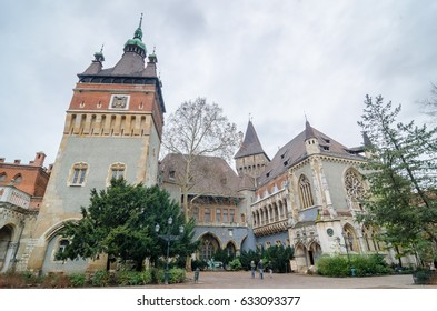 BUDAPEST, HUNGARY - FEBRUARY 23, 2016: Vajdahunyad Castle, City Park of Budapest, is designed in different styles: Romanesque, Gothic, Renaissance and Baroque