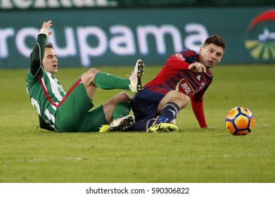 BUDAPEST, HUNGARY - FEBRUARY 25, 2017: Tamas Hajnal (L) of Ferencvarosi TC fights for the ball with Mate Patkai (R) of Videoton FC during Ferencvarosi TC v Videoton FC match at Groupama Arena.