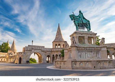 Budapest Hungary, Fisherman Bastion and statue of Stephen I