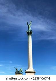 Budapest, Hungary, Heroes Square, Millennium Monument, Angel Gabriel on Millennium Column