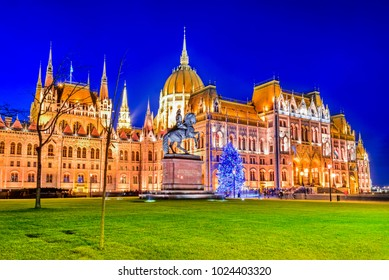 Budapest, Hungary. Hungarian Parliament Building over Danube River.