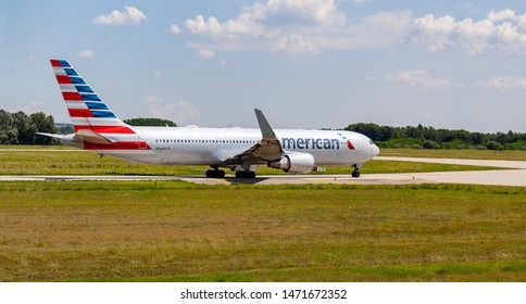 Budapest Hungary International Airport Aug 5 2019:  American Airline Boeing 767 just leaving from Budapest International airport.