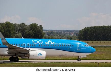 Budapest Hungary International Airport Aug 5 2019: KLM Airline Boeing  just landing at Budapest International airport.