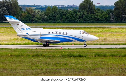 Budapest Hungary International Airport Aug 5 2019: A  private jet  HB-BES just leaving from Budapest International airport.