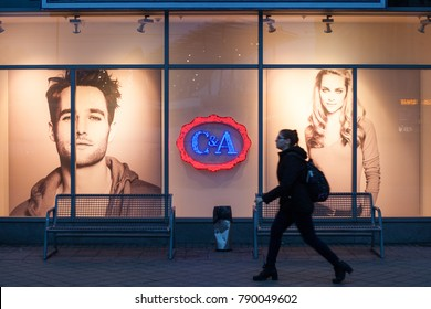BUDAPEST, HUNGARY - Jan 09, 2018: C&A logo on a store in Budapest. C&A is an international chain of fast fashion retail clothing stores.
