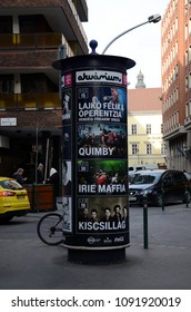 BUDAPEST, HUNGARY - JAN 10, 2018 -  Advertising column (Morris column) in Budapest, Hungary