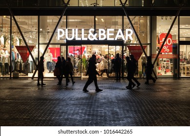 Budapest, HUNGARY - Jan 19 2018: Pull & Bear shop front in Budapest. Pull & Bear is a Spanish clothing and accessories retailer based Galicia.