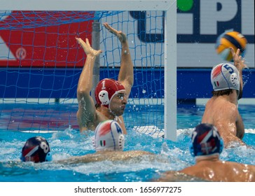 Budapest Hungary Jan 24, 2020: The 34th Men's European Water Polo Championship. The tournament for national teams. Serbia-Italy for the 4th & the 5th place. Serbia got in 4th place by 8-7.