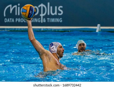 Budapest Hungary Jan 24, 2020: The 34th Men's European Water Polo Championship. The tournament for national teams. Italy-Russia.  Italy wins by 14-12.