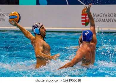 Budapest Hungary Jan 24, 2020: The 34th Men's European Water Polo Championship. The tournament for national teams. Serbia-Greece. Serbia won by 12-9.