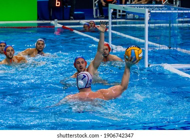 Budapest Hungary Jan 24, 2020: The 34th Men's European Water Polo Championship. The tournament for national teams. Russia- Netherlands. Russia von by 15-9