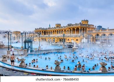 Budapest, Hungary.  January 01, 2018: Szechenyi Baths in Budapest, Hungary.