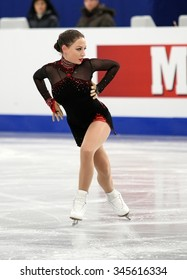 BUDAPEST, HUNGARY - JANUARY 15, 2014: Elene GEDEVANISHVILI of Georgia performs short program at ISU European Figure Skating Championship in Syma Hall Arena.