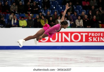 BUDAPEST, HUNGARY - JANUARY 15, 2014: Mae Berenice MEITE of France performs short program at ISU European Figure Skating Championship in Syma Hall Arena.