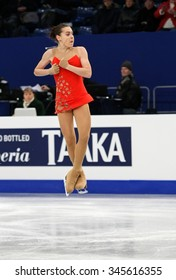 BUDAPEST, HUNGARY - JANUARY 15, 2014: Adelina SOTNIKOVA of Russia performs short program at ISU European Figure Skating Championship in Syma Hall Arena.