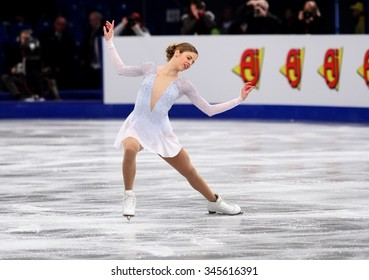 BUDAPEST, HUNGARY - JANUARY 15, 2014: Carolina KOSTNER of Italy performs short program at ISU European Figure Skating Championship in Syma Hall Arena.